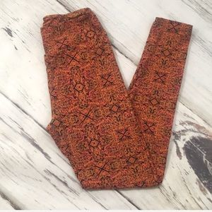 LuLuRoe Leggings One Size Fall Colors Orange Black